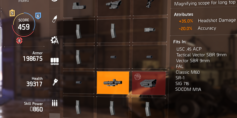 Weapon Mods in The Division 2